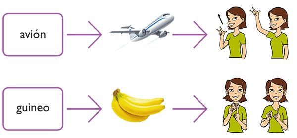 Lenguaje de señas: avión y guineo